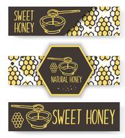 Banner di miele biologico vettoriale. Set disegnato a mano bio. vettore