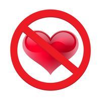 Divieto di amare il cuore. Simbolo di proibito e fermare l'amore vettore