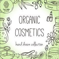 Sfondo con flaconi per la cosmetica. Illustrazione di cosmetici biologici.