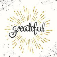 Grateful Retro Poster Design. Carta del ringraziamento. vettore