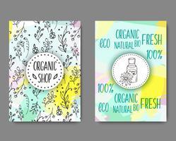 Brochurewith flaconi per la cosmetica. Illustrazione di cosmetici biologici.