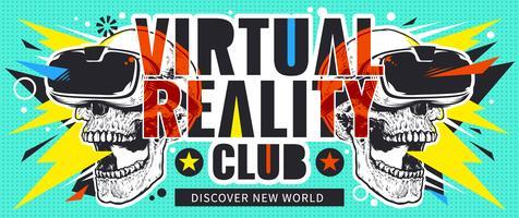 Volantino con realtà virtuale con teschi vettore