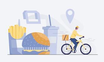 ciclista che consegna cibo ai clienti. vettore