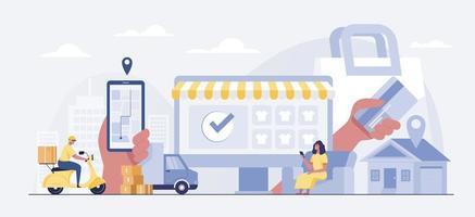 clienti che acquistano ed effettuano pagamenti con smartphone. vettore