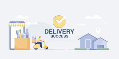 illustrazione di successo di consegna servizio di consegna alle case dei clienti. vettore
