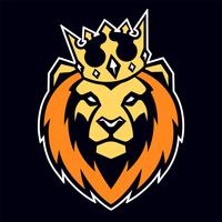 leone nella mascotte di vettore di corona