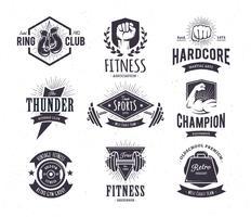 Emblemi di fitness retrò vettore