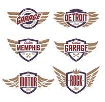 Emblemi con le ali impostate vettore