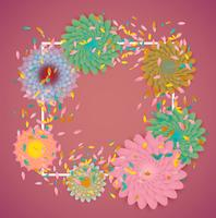 Fiori colorati con bordo bianco e foglie, illustrazione vettoriale