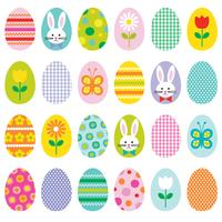 Icone del cerchio di Pasqua con coniglietto pulcino e fiori
