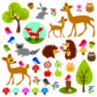 clipart della fauna selvatica dei boschi