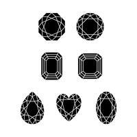forme di pietre preziose sagoma nera vettore