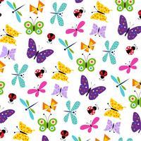 modello di farfalla coccinella vettore
