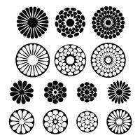 forme di fiori vettoriali nero