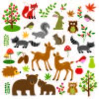 Clipart degli animali del terreno boscoso