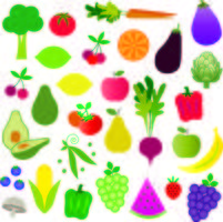 grafica clipart di frutta e verdura vettore