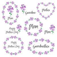 festa della mamma felice con violette vettore