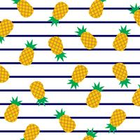 Ananas su strisce marine. vettore