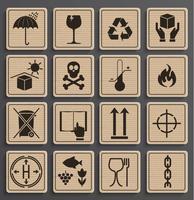 Set di simboli di imballaggio. vettore