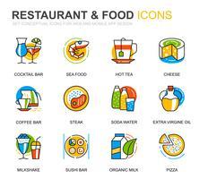Set semplice ristorante e icone di cibo linea per applicazioni web e mobile vettore