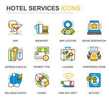 Icone semplici della linea di servizio dell'hotel stabilite per le applicazioni del sito Web e del cellulare