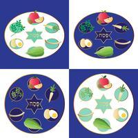 Piatti di seder di Pasqua con cibo