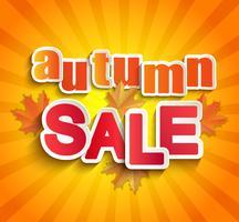 Lettering vendita autunno con foglie.