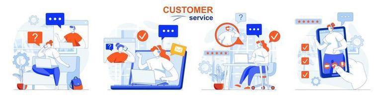 il concetto di servizio clienti imposta scene isolate di persone in design piatto vettore