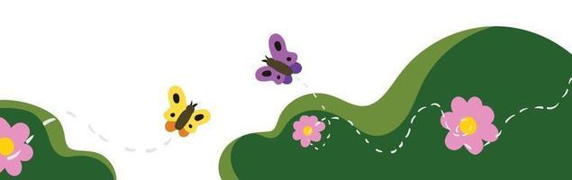 arbusti d'erba con farfalle e fiori colorati vettore