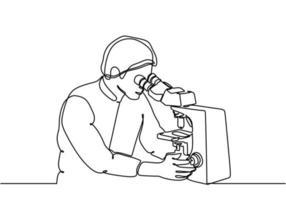 scienziato un disegno a tratteggio, microscopio disegnato a mano continuo vettore