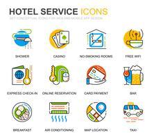 Icone semplici di linea di servizi dell'hotel dell'insieme per le applicazioni del sito Web e del cellulare