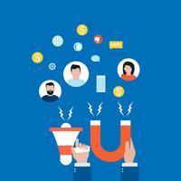 Concetto del mercato di obiettivo, attirando i clienti, illustrazione piana di vettore di conservazione del cliente