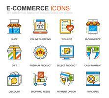 Set semplice di icone di e-commerce e shopping line per applicazioni web e mobili vettore