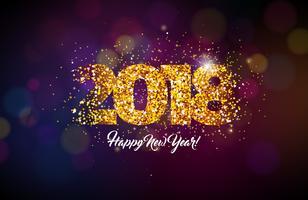 2018 Felice anno nuovo sfondo vettore