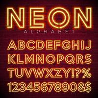 Luminoso alfabeto al neon