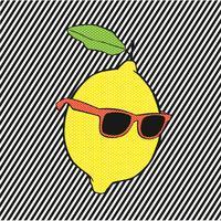Pop limone con occhiali da sole su linee di fondo