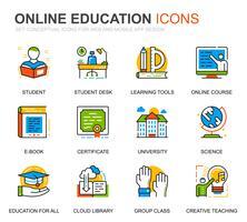Set semplice Icone di educazione e conoscenza per applicazioni Web e mobili