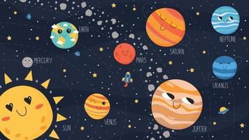 schema del sistema solare. pianeti vettoriali, cintura di asteroidi, astronave e ufo vettore