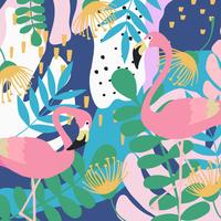 Fondo tropicale del manifesto delle foglie e dei fiori della giungla con i fenicotteri