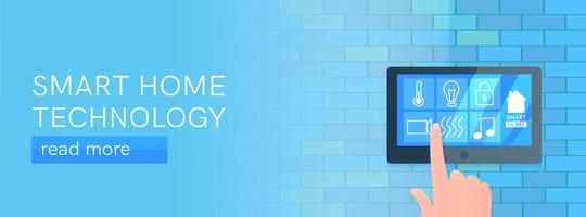 Banner di tecnologia casa intelligente. Schermo digitale sul muro. Illustrazione di cartone animato vettoriale