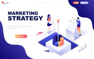 Concetto isometrico moderno design piatto di strategia di marketing