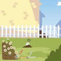 giardinaggio, aiuola cazzuola cespuglio erba e cortile recintato vettore