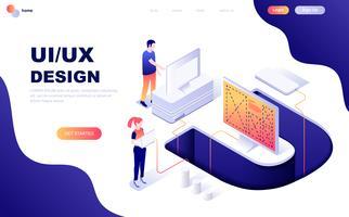 Concetto isometrico moderno design piatto di UX, UI Design vettore