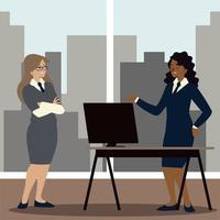 donne d'affari nell'area di lavoro con scrivania e sedia vettore