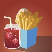 cibo patatine fritte e succo di bevanda fresca design vettore