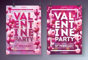 Illustrazione dell'aletta di filatoio del partito di giorno di biglietti di S. Valentino