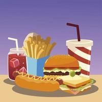 fast food hamburger hot dog sandwich patatine fritte e soda vettore