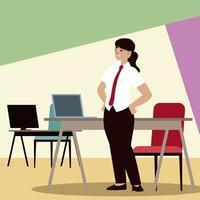 uomini d'affari, donna d'affari con scrivanie per computer e sedia da ufficio vettore