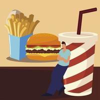 uomo con hamburger patatine fritte e soda da asporto, cibo vettore