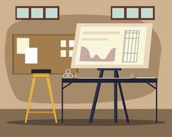 ufficio di architettura con spazio di lavoro sedia tavolo progetto vettore